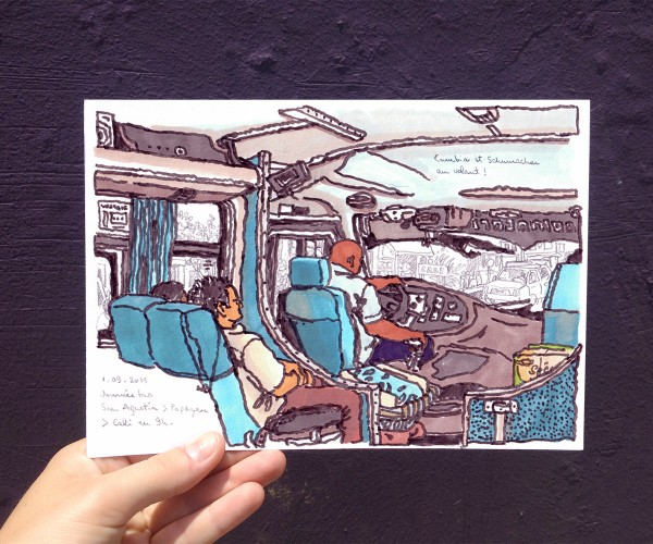 croquis-colombie-13-dugudus-bus-cali-chauffeur-sketch-transport