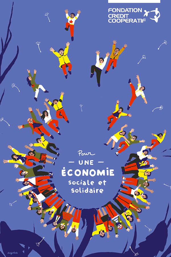 fondation-credit-cooperatif-dugudus-economie-sociale-poster-colors-illustration